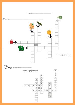 crucigrama infantil con gráficos es español - alimentos