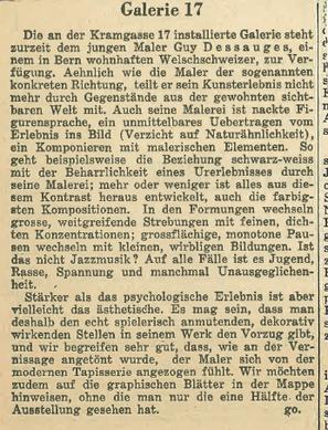Article sur éxposition à la Galérie 17 de Berne, 1951