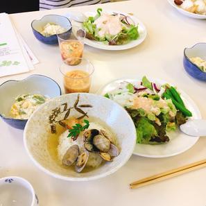 アサリと筍のお茶漬け風/春野菜のタラコ淡雪ソース/グリンピースとトマトの卵とじ/マスカルポーネを使った甘夏の白和え