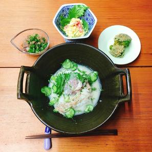 冷汁ご飯/ほうれん草のお浸し/ポテトサラダ/牛すじポン酢