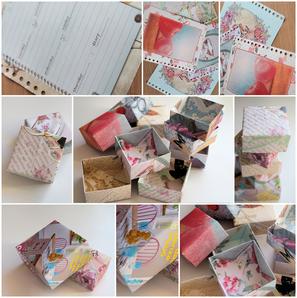 kleine boxen aus alten kalenderblättern, titelseiten von zeitschriften, ect...