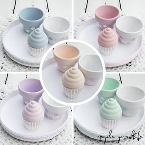 cd-tellerchen mit mini-tontöpfchen & kleinen cupcakes...