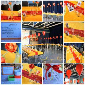 """geburtstagsdeko mit selbstgemachten platz""""karten"""" (incl. begrüßungsschnäpsken & zuckersüßer nascherei), upcycling-blumenvasen, ein etwas anderes gästebuch und vielen, vielen """"fliegenden"""" luftballons..."""