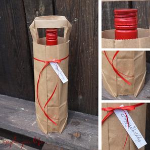 flaschentüte... aus einer einfachen, braunen papiertüte gemacht & dezent dekoriert...