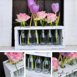 """für """"ups""""blümchen... mini-schnapsfläschchen als vasen für versehentlich abgeschnittene blumen..."""