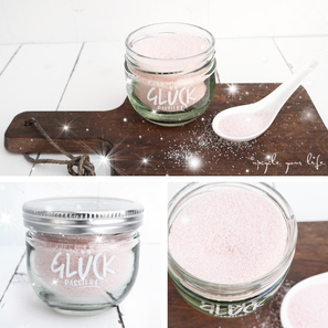 diy rosa zucker im marmeladenglas... (unbezahlte werbung wegen markenerkennung)