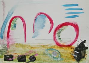 Artigkeit, Claudia Karrasch, Bonn, Malen, Abstrakte Malerei, Kunst, Studio,  Papier Dreierlei 1