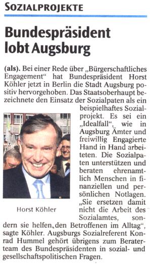 Projekt Sozialpaten - Presse AZ 28.09.2006