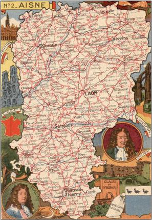 Recto d'une carte postale timbrée au dos envoyée depuis l'Aisne