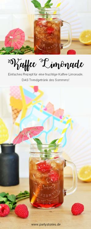 Einfaches Rezept für eine Kaffee Limonade - So einfach eine fruchtige Limo mit Kaffe für den Sommer, eine Sommerparty, die Grillparty, einen JGA oder jeden anderen Anlass als alkoholfreien Cocktail mixen // gefunden auf www.partystories.de