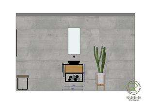 bemaßte CAD Planung für Eiche Waschtischunterschrank mit Metallkonsole von Schreinerei Holzdesign Ralf Rapp in Geisingen für