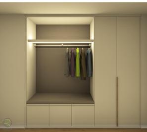 Garderobenschrank Entwurf - indirekter Beleuchtung oben & unten