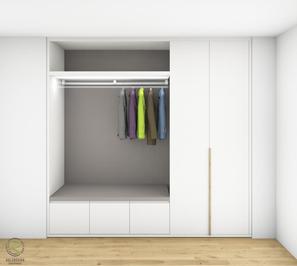 Garderobenschrank Entwurf - Massivholz-Griff