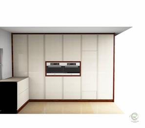 3D-CAD-Planung von raumhoher Hochschrankzeile für moderne Küche in weiß von Schreinerei Holzdesign Ralf Rapp in Geisingen in weiß und Nussbaumdekor