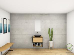 fotorealistische CAD Planung für Eiche Waschtischunterschrank mit Metallkonsole von Schreinerei Holzdesign Ralf Rapp in Geisingen für