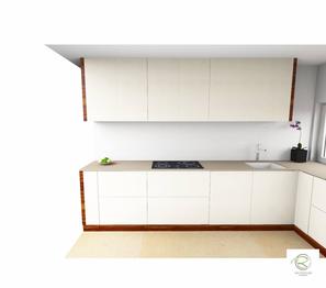 3D-CAD Planung von Schreinerei Holzdesign Ralf Rapp in Geisingen moderne Küche in weiß mit Unterschränke mit raumhohen Oberschränken