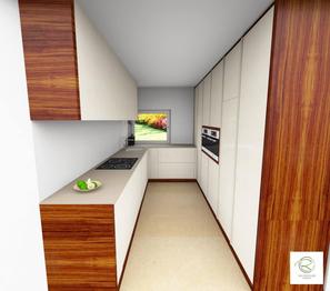 3D-CAD-Planung moderne Küche in weiß von Schreinerei Holzdesign Ralf Rapp in Geisingen in weiß und Nussbaumdekor