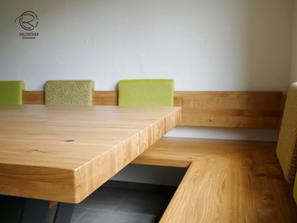 Tischplatte für Eckbank in Eiche massiv nach Maß mit anthrazitem Metalltischgestell mit Mittelfuß