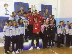 Il podio della Coppa Sicilia 2018: Barcellona, Bagheria, Palermo.
