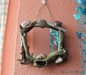 driftwood mirror, mirror, espejo madera deriva, espejo madera de mar, decoración ecológica, decoración con palos, vymcreaciones, vymcreaciones.com