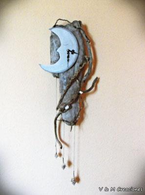 reloj luna, moon, luna, vymcreaciones, vymcreaciones.com, driftwood clock, driftwood art, driftwood, reloj madera de mar