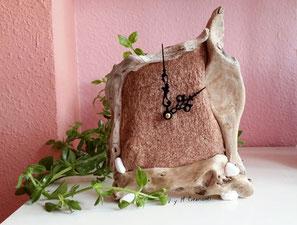 zeus, reloj de mesa, madera de mar, reloj madera, vymcreaciones, vymcreaciones.com, driftwood clock, clock, driftwood art, etsy