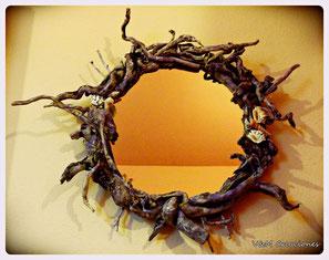 driftwood mirror, mirror, espejo madera deriva, espejo madera de mar, decoración ecológica, decoración con palos, vymcreaciones, vymcreaciones.com. lorien