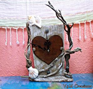 madera de mar, reloj madera, madera deriva, vymcreaciones, vymcreaciones.com, driftwood clock, driftwood art