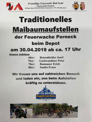 Feuerwehr, Blaulicht, Maibaumaufstellen, Perneck, FF Bad Ischl