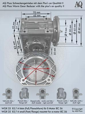 Getriebe » Schneckengetriebe » Schneckengetriebe ohne Motor » B3/14 klein Fuß/Flanschform