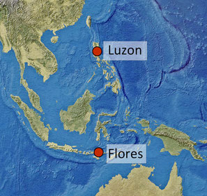 Locations of Homo floresiensis and Homo luzonensis
