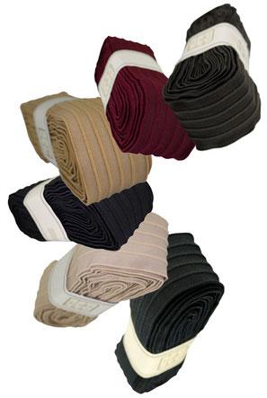 Schmuckband no. 24 mit Biesen; BW, 9er Breite: grau, rot, hellbraun, schwarz, beige, blau