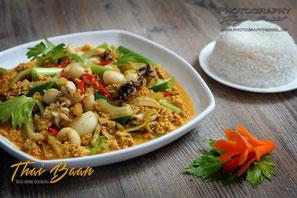 Pla Mügh Phad Pong Gali; ; Thai Baan Neudorf; Yupin Seidel; thailändischer Kochservice; Foodtruck; Kochkurs, Thaifood, gesunde Ernährung, Restaurant