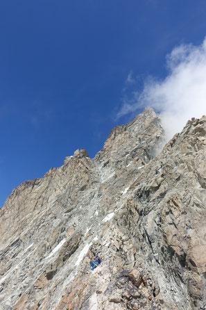 Zinalrothorn, Rothorngrat, Abstieg, Normalweg, Gabel, Couloir