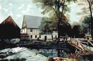 Das Restaurant Talmühle Lotzdorf mit der Brücke zum linken Röderufer, um 1910