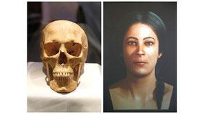 Eine virtuelle 3D-Rekonstruktion des Gesichtes einer Frau basierend auf einem der prähistorischen Schädel der im Xagħra Steinkreis gefunden wurde. Photos: Darrin Zammit Lupi ...Frauen machen Geschichte
