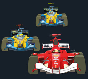 Schumacher, Alonso & Fisichella by Muneta & Cerracín