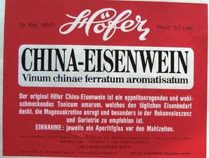 Höfer China Eisenwein. Höfer Apotheke um 1955.