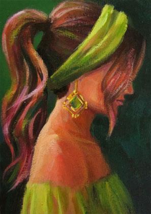 "Original Gemälde Frauenportrait ""Suna"" 13 x 18 cm"