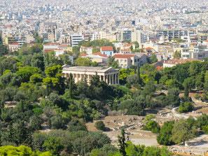 die Stadt Athen umfasst den Tempel-Bezirk