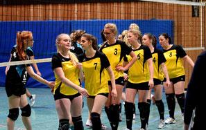 Spielerinnen: Svenja Kahrels, Amina Pecanin, Rieke Schüning, Katharina Strick, Imke Cornelius, Tanja de Haan und Yasmin Cornelius