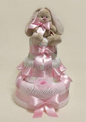 """Торт из памперсов для девочки розовый  """"Зайчонок МИ"""""""