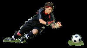 Fussballtorwart hechtet nach dem Ball