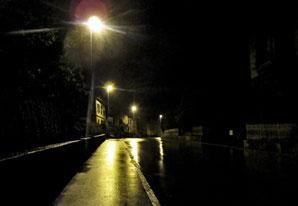 Strassenlaternen, Regen, nasser Asphalt