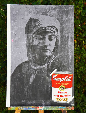 """""""Hämche"""" 0,90 m x 0,60 m Collage, Painting auf einer Holzplatte Divo Santino 2017"""