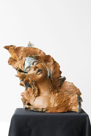 Portrait femme céramique et émaux, Atman