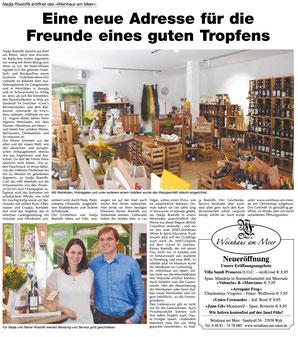 """Artikel im """"Wir Insulaner"""" über das Weinhaus am Meer"""