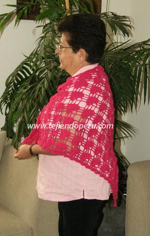 Cómo tejer un chal o punta con abanicos a crochet
