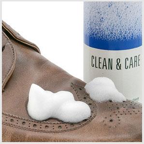 Schnee- und Wasserränder lassen sich hervorragend mit Collonil CLEAN & CARE oder SHAMPOO DIRECT entfernen.