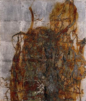Dead and dried tulips――Dedicated to Suehiro TANEMURA (Painting, Japanese paper, Silver leaf, Pigments, Glue)